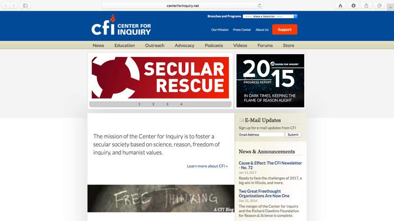 Center for Inquiry screenshot thumbnail